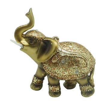 Popular Design Gold Resin Elephants Statues For Home Decor