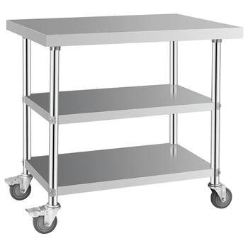 Stainless Steel Work Table With Wheelskitchen Equipment Used Steel - Stainless steel work table on casters