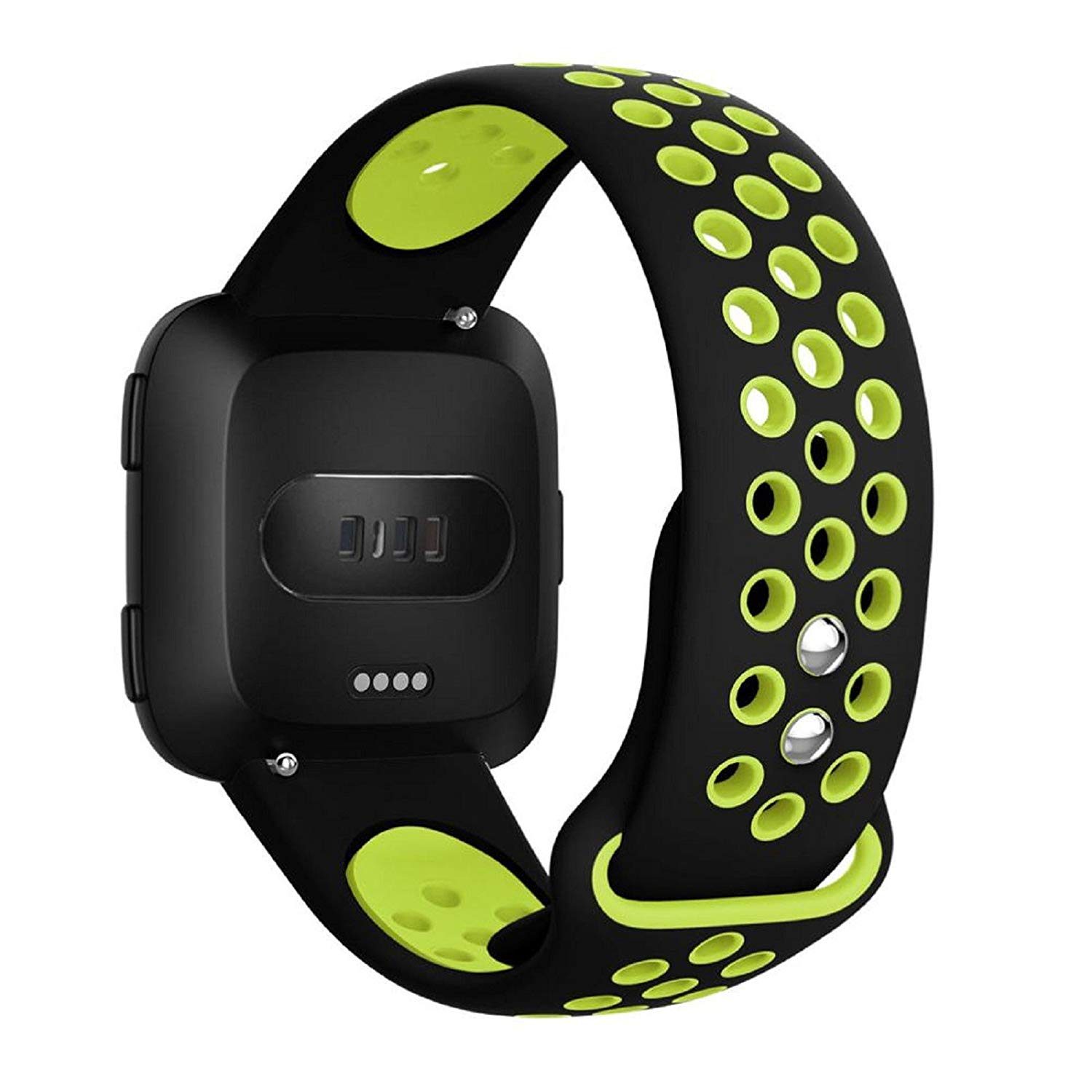Owill Durable Lightweight Replacement Ventilate Holes Soft Silicone Sports Strap For Fitbit Versa, Band Length: 140+98MM (Black)