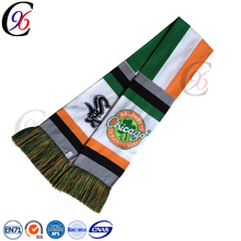 Chengxing wholesale sport football soccer fan scarf crocheted color cheap polar fleece scarf