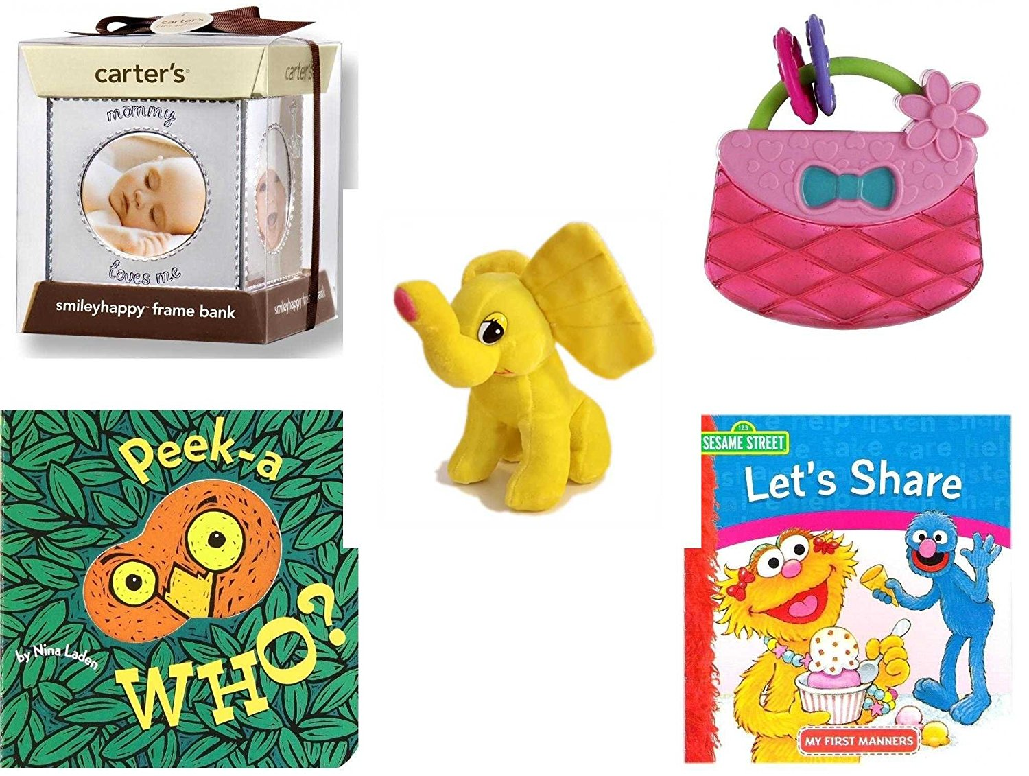 Children's Gift Bundle - Ages 0-2 [5 Piece] - Carter's Smily Happy Frame Bank, Silver - Bright Starts Pretty in Pink Carry Teethe Purse - Yellow Elephant Plush - Peek-a-WHO? Board Book - Sesame Str