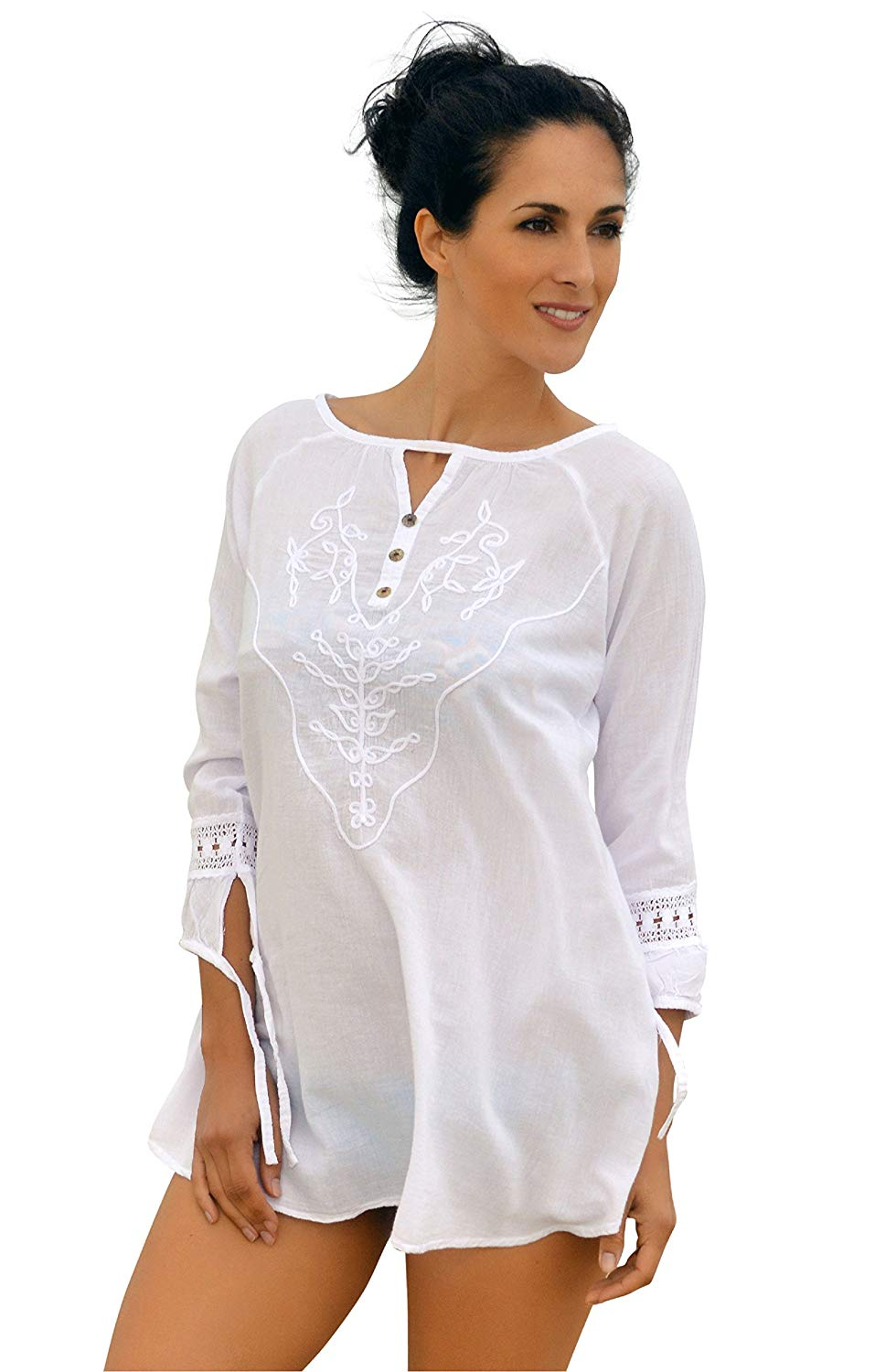 58f50423f7 Get Quotations · Cotton Natural Beach Cover Up Embroidered Fashion Summer  Swim Tunic Cover Up