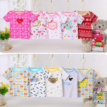 Summer Hot Sale cartoon Design o-neck snapping Baby T-shirt set