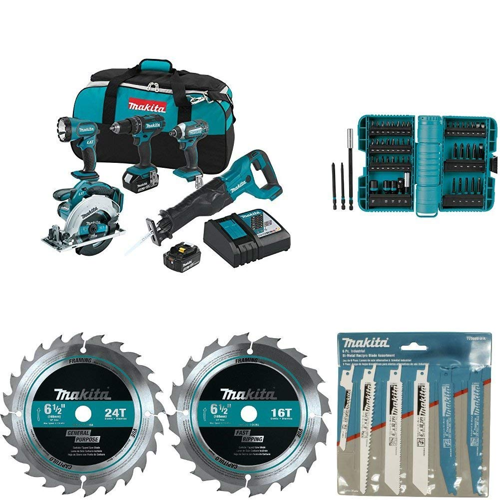 """Makita XT505 18V LXT Lithium-Ion Cordless 5-Pc. Combo Kit with with A-98348 ImpactX 50 Pc. Driver Bit Set with 723086-A-A 6 Pc. Recipro Saw Blade Assortment Pack with T-01395 6-1/2"""" 16T Carbide-Tipped Circular Saw Blade, Framing with T-01404 6-1/2"""" 24T Carbide-Tipped Circular Saw Blade, Framing"""