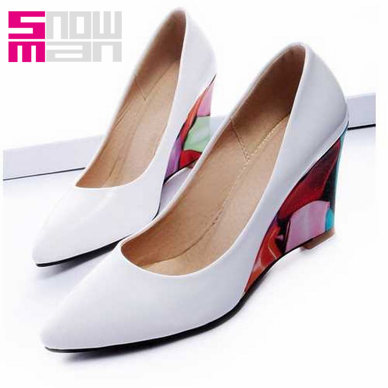 fashion high wedges pointed toe party pumps elegant color matching flower print high wedges mary jane pumps women shoes
