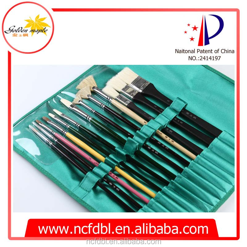 13pcs/set artist brush oil and acrylic painting brush,kinds of hair shape acrylic brush set with OEM canvas package