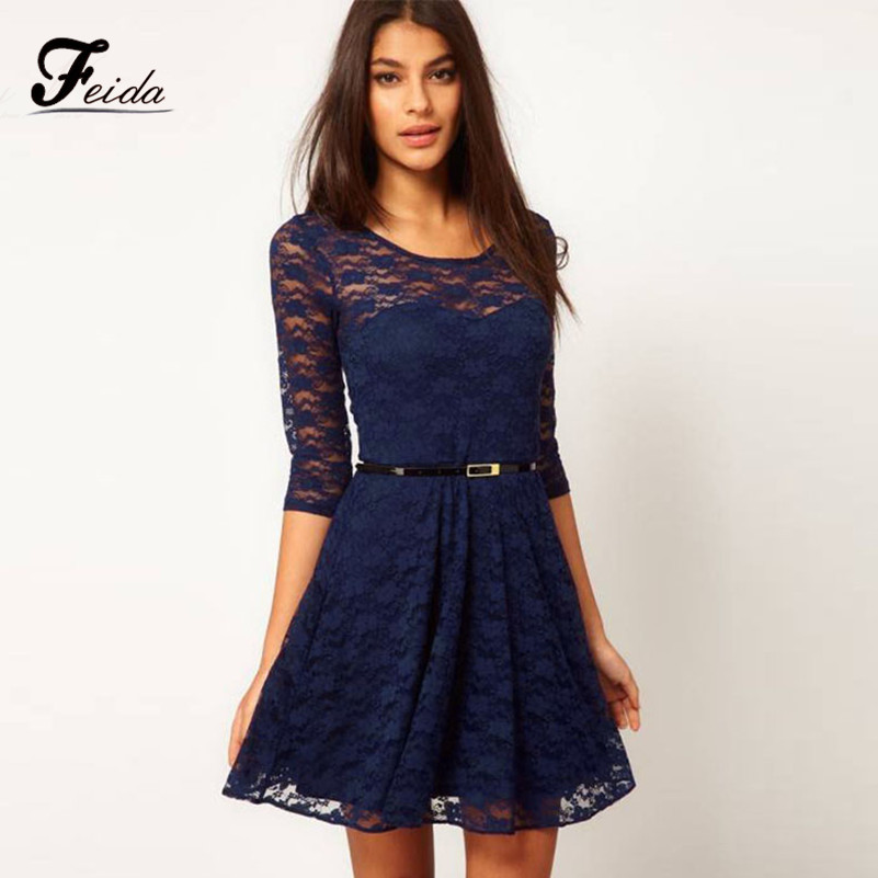 369e4344a2d2 Get Quotations · Feida Big Discount Imported clothing Womens Office Lace  Hollow Clubwear Brand Dress+Belt Plus size