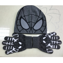 Kids winter knit hat print and embroidery spider-man patterns scarf hat and gloves sets