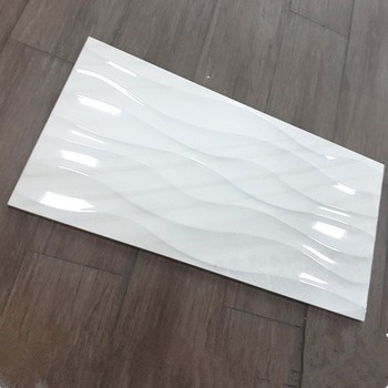 12x24 Polished Wavy White Wall Tile Ceramic Material Bathroom