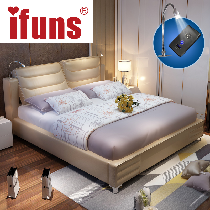 Ifuns luxury bedroom furniture sets queen size modern - Modern queen bed with storage ...