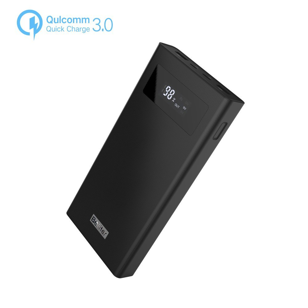 Besiter 20000 Portable Charger Quick Charge 3.0 High Capacity Dual Input and Dual USB Output Power Bank 20000mah LCD Display 12, 9, 5v External Battery Pack (Black)