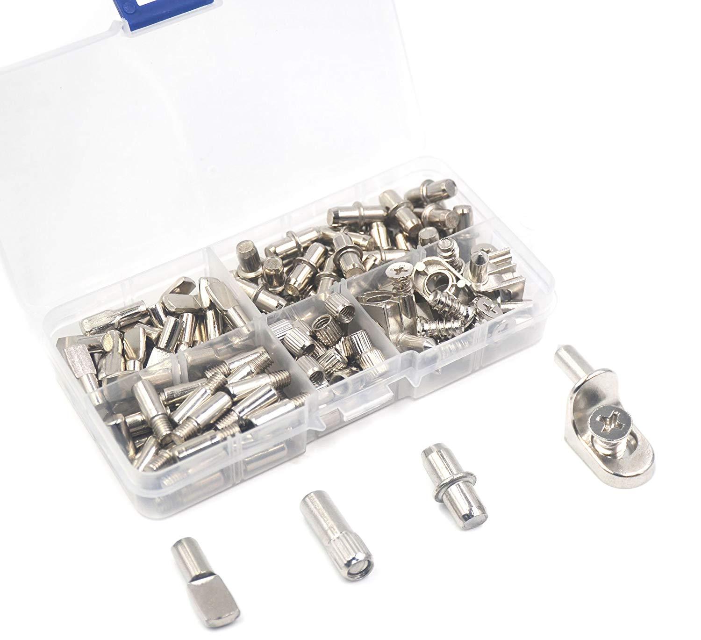 IRISFLY 100 Pcs Shelf Bracket Pegs Nickel Plated Cabinet Furniture Shelf Pins Support 4 Styles