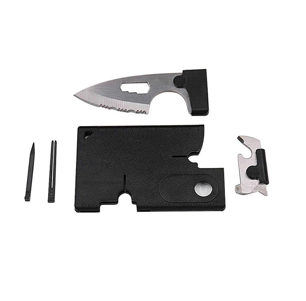 EVERMARKET Credit Card Tool Survival Knife Kit, Wallet Tool Gift, Knife Tool Survival Pocket Knife Credit Card Comrade Survival Card, 10 in 1 Multitool Emergency Companion (1 Pack)