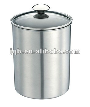 Stainless Steel Canister With Glass Lid And Elegant Design And Low