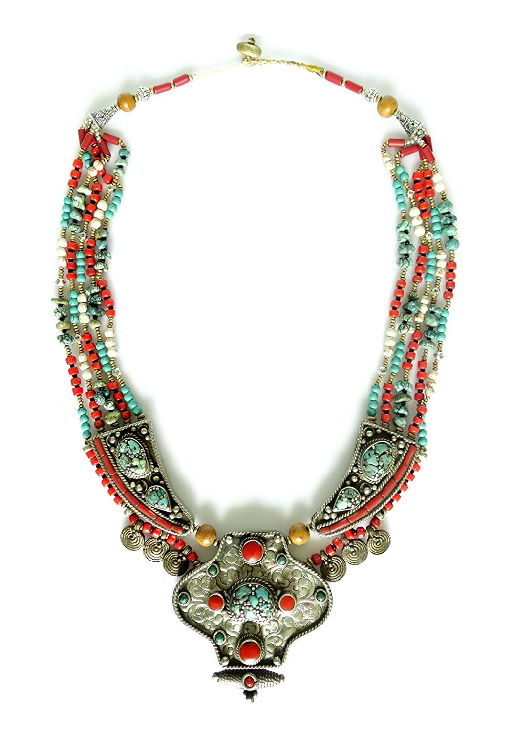 Tibetan Silver BUDDHIST BOHEMIAN LONG MULTIPLE STRAND FASHION NECKLACE WOMAN UNIQUE ETHNIC TRIBAL GYPSY HANDMADE NECKLACE JEWELRY, TURQUOISE CORAL GEMSTONE INLAID TIBETAN SHELL BEADS/NAGA CO