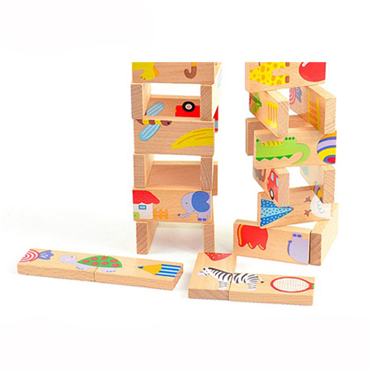 FQ brand kids wooden educational wood blocks game set toy dominos