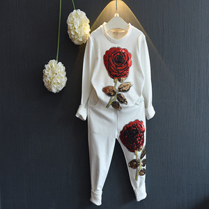 2017 Wholesale children clothing Rose Long-sleeved T-shirt jacket + Long pant 2 Pieces kids clothing 3 colors