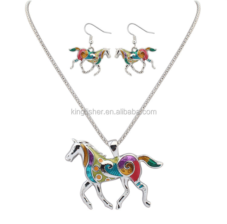 Golden/silver plated enamel alloy horse jewelry sets necklace and earrings wholesale