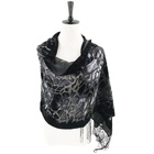 Velvet feeling silk base burnout shawl 62 x 20 inches with 6 inches fringe ends stone scarf