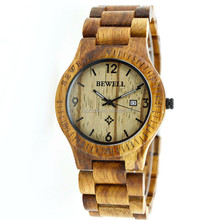 Bewell golden wood watch with japanese movement watch time