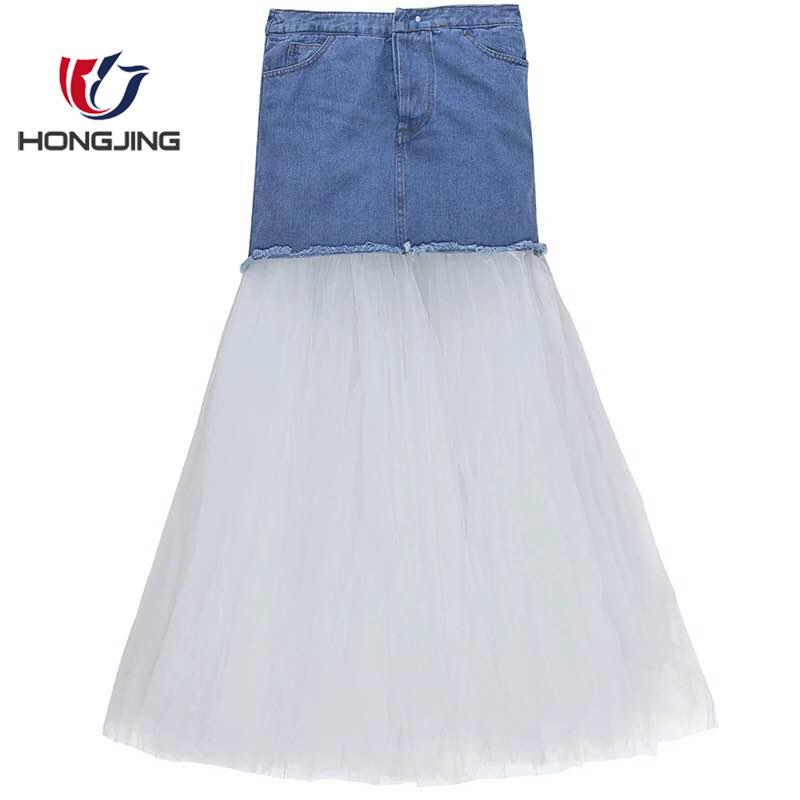 女性着用デニムとメッシュショートスカートモックフロントフライ床の長さのスカートのドレスセクシーな weddingwear クラブウエディングセクシーなお祝い
