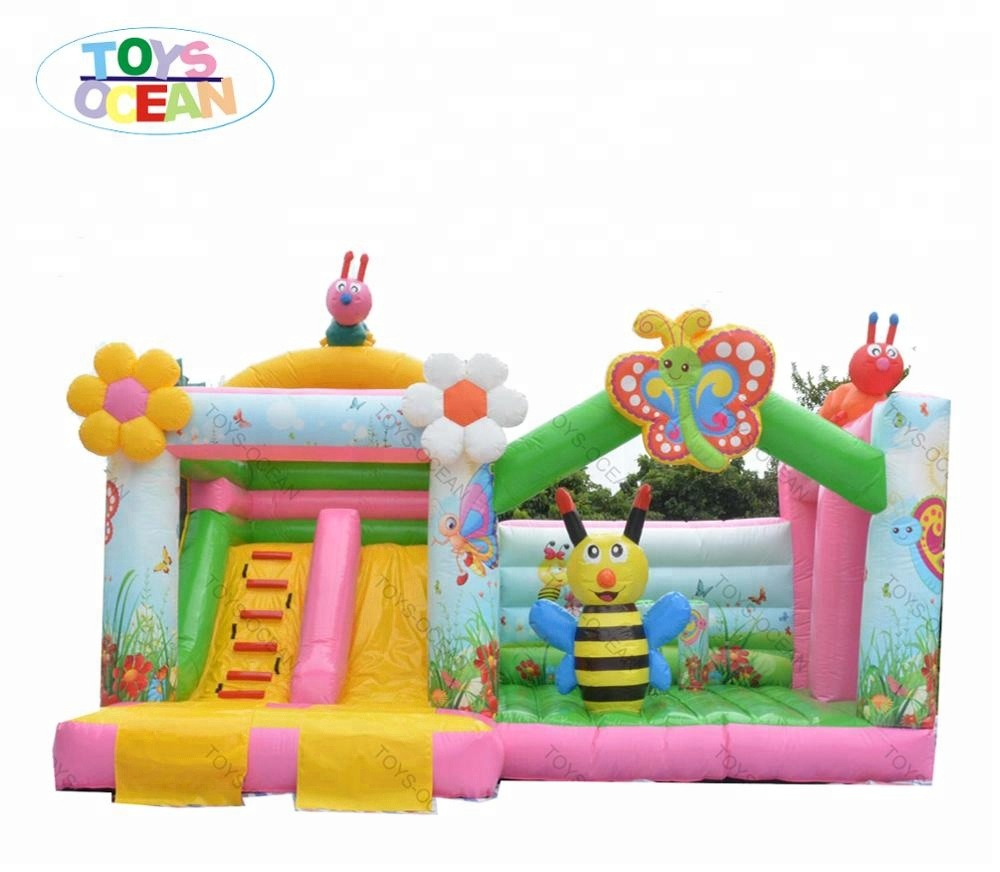 kids inflatable butterfly pink combo bounce jumping castle with slide