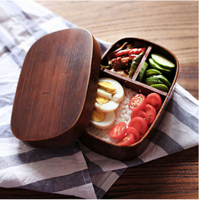 2020 Factory Hot Sales <strong>Wooden</strong> Leakproof Bento Lunch Box Dinnerware Set Portable For School Office Home Use Eco Friendly