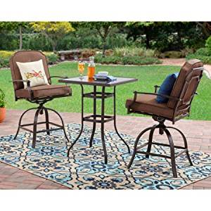 3-Piece High Outdoor Bistro Set, Seats 2, Two Modern Chairs Included, Patio Set,Comfortable Bistro Set,Durable Powder-coated Steel Frame,Tempered Glass table Top,Home and Garden Furniture,BONUS e-book