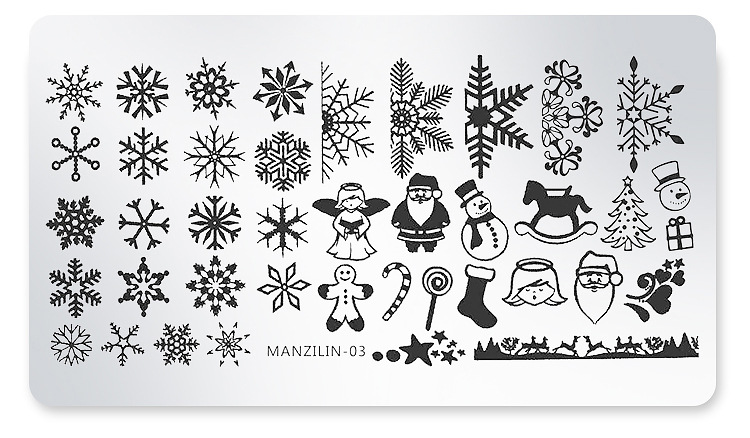 new Design Christmas Style Designs Mixed Nail Art Square Steel Stamping Plates 6*12 cm