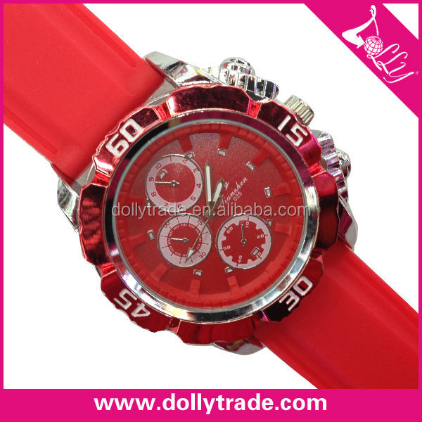 silicone wrist watch deep red with big dial for men