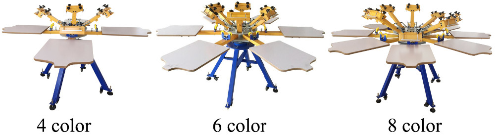 8 color 8 station rotary t-shirt printing machine