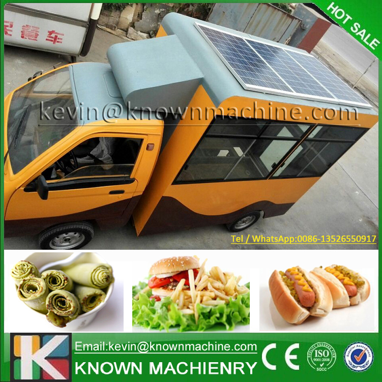 Environmental protection design! food truck fast food van with solar panel