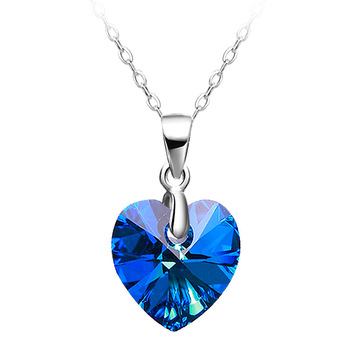 Blue Heart Shape 925 Silver Crystal Ocean Heart Pendant