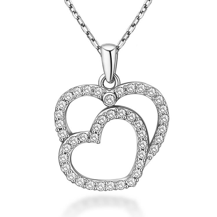 SJPE-026 Wholesale Fashion Jewelry Latest Design 925 Sterling Silver Zirconia Heart Necklace