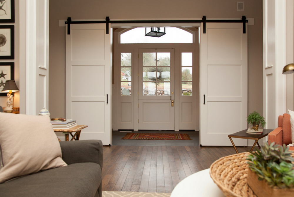 White Color Double Sliding Barn Doors With Door Track System Interior Product