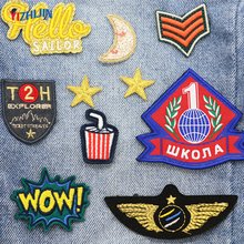 Factory Wholesale Glitter Designs Embroidered Iron on Patch for Kids clothing Custom Applique Embroidery Logo Patch Iron-on