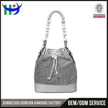 2017 Silver Color Patch Work Women Side Bucket Bag