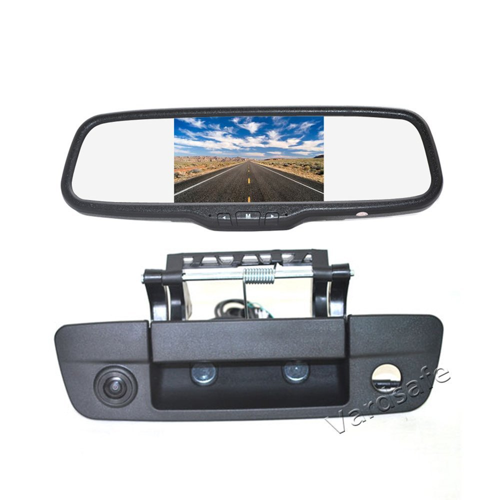 Vardsafe   Tailgate Handle Reverse Backup Camera + Clip-on Rear View Mirror Monitor For Dodge Ram 1500 2500 3500 (2009-2017)