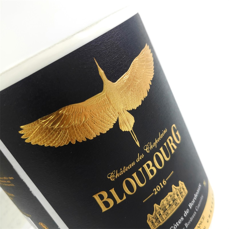 Custom Personalized Embossed Private Self Adhesive Gold Foil Eco-Friendly Wine Bottle Stickers