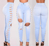 Wholesales stock cheap boyfriend ripped skinny stretch d damage jeans for girl