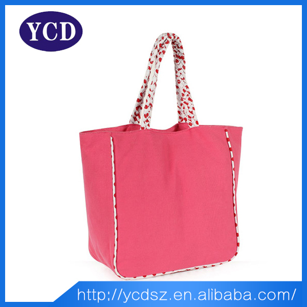 Eco Friendly OEM Production Pink Canvas Tote Bag For Girls
