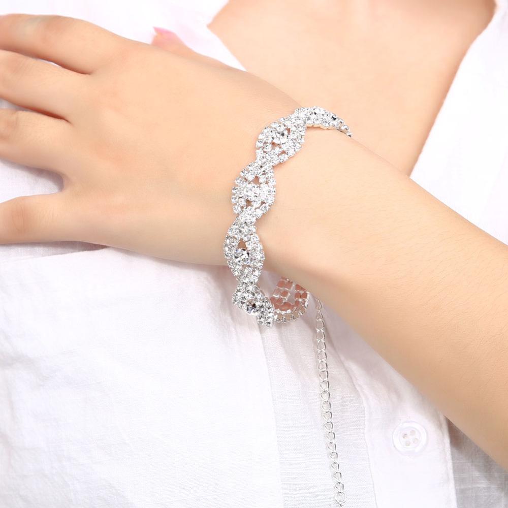 Buh9 элегантный роскошный свадебный горный хрусталь кристалл свадьба сплав серебряный браслет