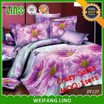 3d Polyester Stock Bed Sheets Set 3d/1sets MOQ Online Sale 3d Bed Cover Set