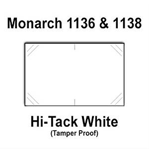 112,000 Monarch 1136/1138 compatible White Hi-Tack Labels for Monarch 1136, Monarch 1138 Price Guns. Full Case + 8 ink rollers. WITH Security Cuts.