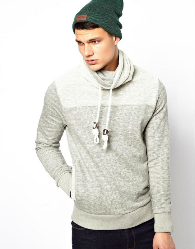 Newest Fashion Men Long Sleeve Funnel Neck Hoodie With