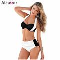 Women Bikini 2016 Push Up Halter White Black 4 Colors Stylish Bicolor High Waist Swimsuit Plus