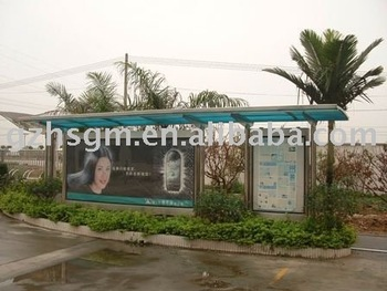 Green Passenger Waiting Shelter With Billboard Advertising Panels