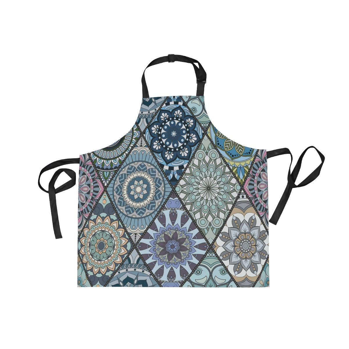 Unisex Apron Vintage Ethnic Style Flower Floral Mandala Adjustable Apron with Pockets for Men Women Kitchen Personal Decor Cooking Baking Kitchen Gardening Waist Apron Adult Apron,Twill,Multicolor