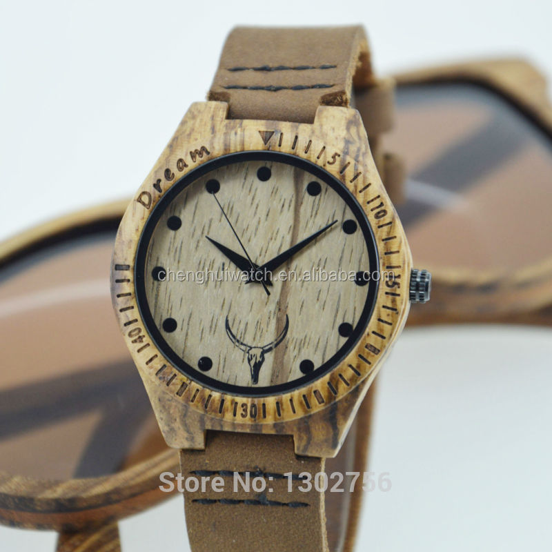 zebra wooden watch can be water resistant with leather band watch