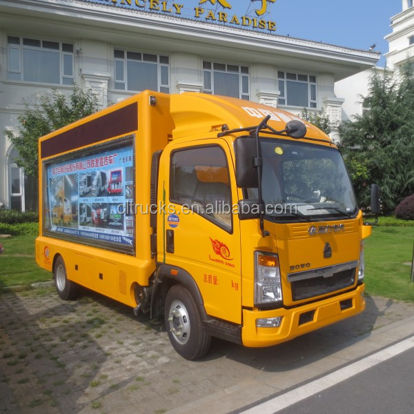 P6, P8, P10 full color screen 4*2 HOWO digital mobile billboard truck for sale